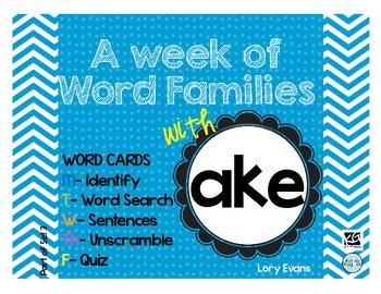 Word Family - ake family