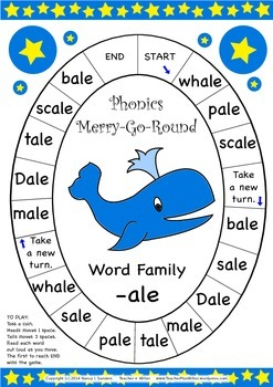 Word Family -ale Phonics Merry-Go-Round Game