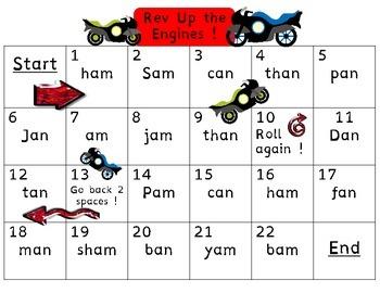 Glued Sounds--am,-an,-all (Race Cars)