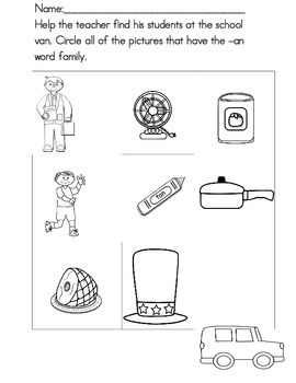 Word Family  -an Student Practice Booklets