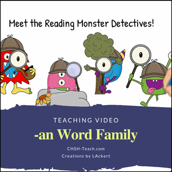 Word Family -an  Teaching Video & Workbook (Monster Detectives)