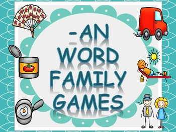 Word Family Games (-an), includes dice, game board, race board, and memory
