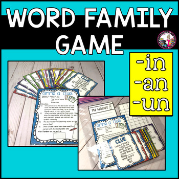 Word Family -an, -un, and -in Gimme a Clue! Game!