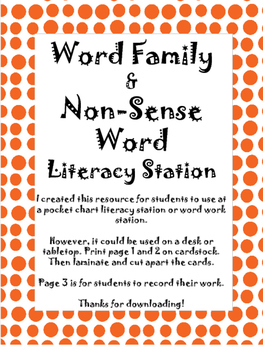 Word Family and Non-Sense Word Sort