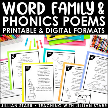 Distance Learning Word Family & Phonics Poetry   Poem Of The Week   Digital