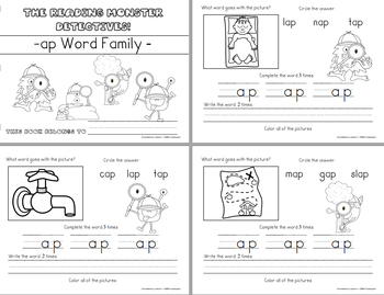 Word Family -ap Teaching Video & Workbook (Monster Detectives)