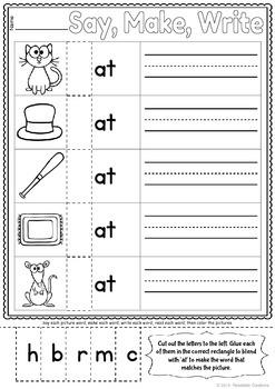 Word Family: -at Activity Sheet and Book