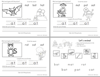 Word Family -at Teaching Video & Workbook (Monster Detectives)