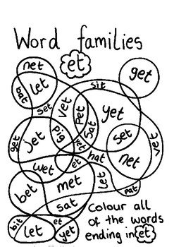 Word Family colouring sheets