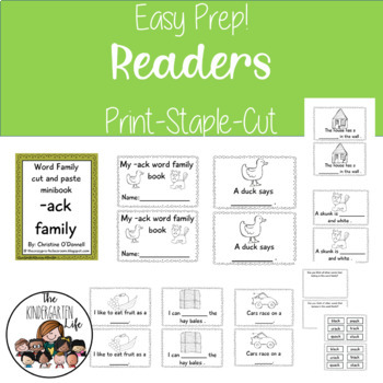Word Family cut-n-paste readers: 15 black and white eazy prep books!