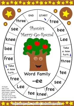 Word Family -ee Phonics Merry-Go-Round Game