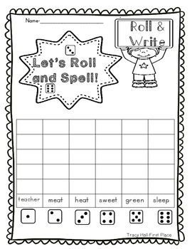 Word Family -ee and -ea Word Work and Spelling Printables-freebie in preview