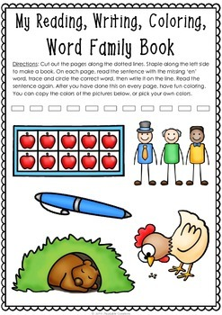 Word Family: -en Activity Sheet and Book