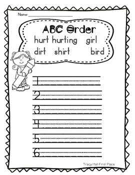 Word Family -ir and -ur Word Work and Spelling Printables
