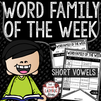 Word Family of The Week • Word Family Activities • Short V
