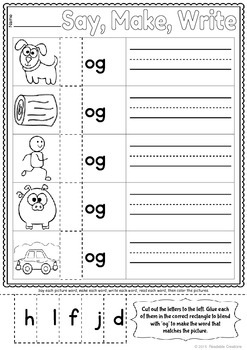 Word Family: -og Activity Sheet and Book
