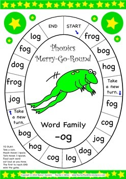 Word Family -og Phonics Merry-Go-Round Game
