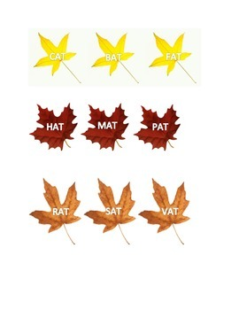 Word Family or Rhyming Fall Leaves