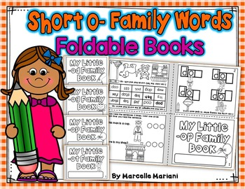 Word Family, short O ONE PAGE FOLD-ABLE BOOKS (4 Books)