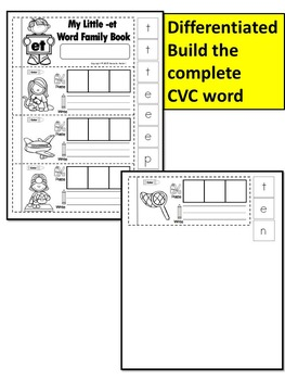 Word Family short e CVC Books: Name it, Build it, Write it, Differentiated