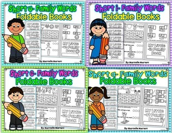 Word Family, short vowel 25 CVC ONE PAGE FOLD-ABLE BOOKS-BUNDLE PACK