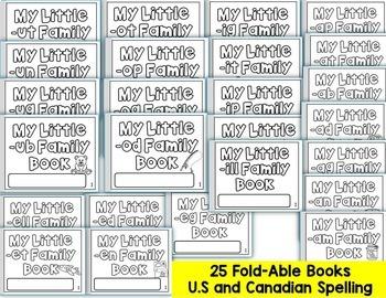 SHORT VOWEL CVC BOOKS-25 ONE PAGE FOLD-ABLE WORD FAMILY CVC BOOKS-BUNDLE