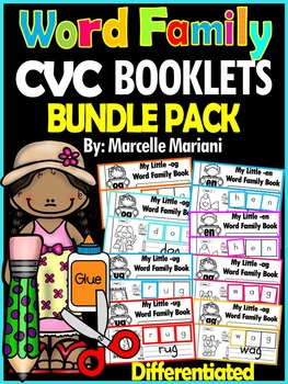 Word Family, short vowel 24 CVC Books: Name it, Build it, Write it