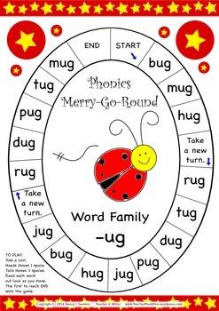 Word Family -ug Phonics Merry-Go-Round Game