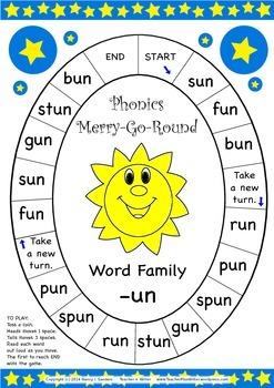 Word Family -un Phonics Merry-Go-Round Game