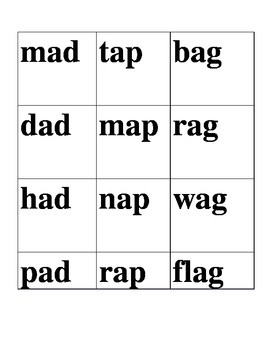 Word Family word sort boxes