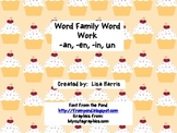 Word Family word work -an, -en, -in, un