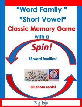 Word Family....Short Vowel Memory with a SPIN Game!