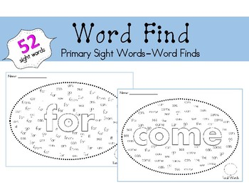 Word Find- Primary Sight Words