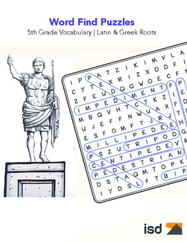 Word Find Puzzles - 5th Grade Vocabulary (Greek Latin Roots)