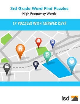 Word Find Puzzles w/ Answer Keys   3rd Grade High Frequency Words