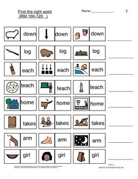 Word Find - Reading Mastery K Lessons 100-120