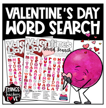 Word Search / Word Find / Word Hunt / Word Games - Valentine's Day, Letter size