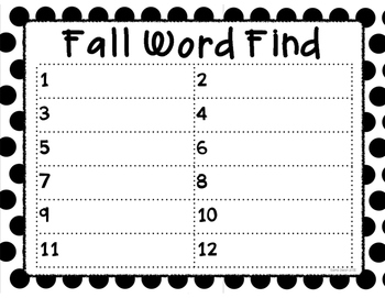 Word Find for the Entire Year