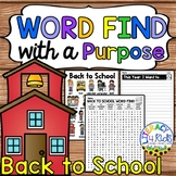 Word Find with a Purpose: Back to School