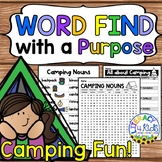Word Find with a Purpose: Camping Nouns & Verbs