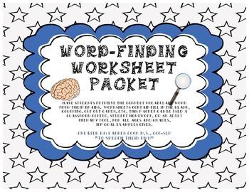Word-Finding Worksheet Packet