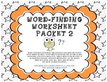 Word-Finding Worksheet Packet -2