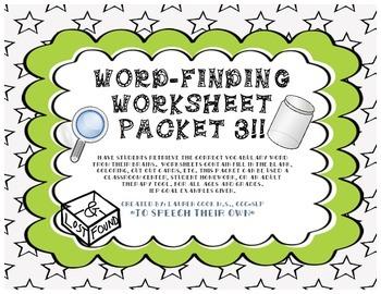 Word-Finding Worksheet Packet -3