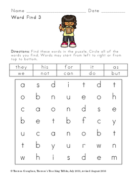 Word Finds for Sight Word Practice