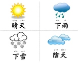 Word Flash Cards weather, season, Traditional Chinese