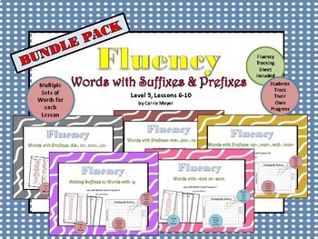 Word Fluency: Words with Suffixes & Prefixes: Level 5 Lessons 6-10 BUNDLE