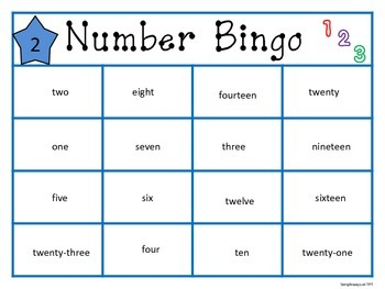 Word Form  and Standard Form Bingo and Matching 1-25