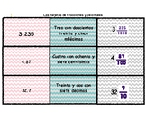 Word Form, Decimals and Fractions Card Sort in Spanish