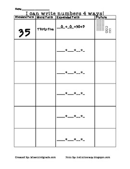 Word Form, Expanded Form, Standard Form, Picture Form-Place Value Chart