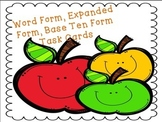 Word Form, Expanded Form and Base Ten Form Task Cards